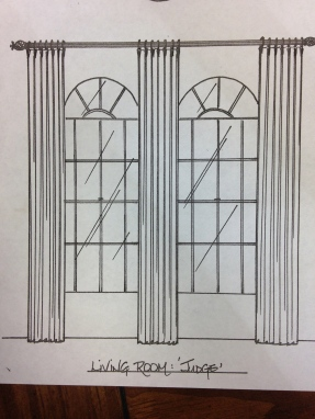 This window treatment was drawn for a client with arched windows.
