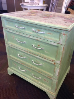 The chest painted in the hand mixed green.